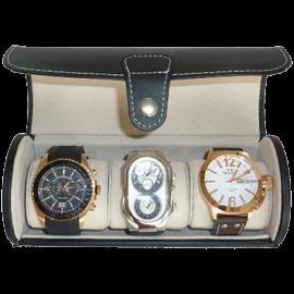 Black 3 Watch Leatherette Roll Travel Traveler's Watch Storage Organizer Collector Case