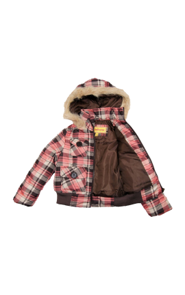 Brown Girls Plaid Winter Jacket
