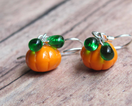 Pumpkin Earrings - Halloween Orange Czech Glass Pumpkin Beads