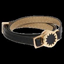 House of Harlow 1960 Gold Tone Sunburst with Leather Wrap Bracelet