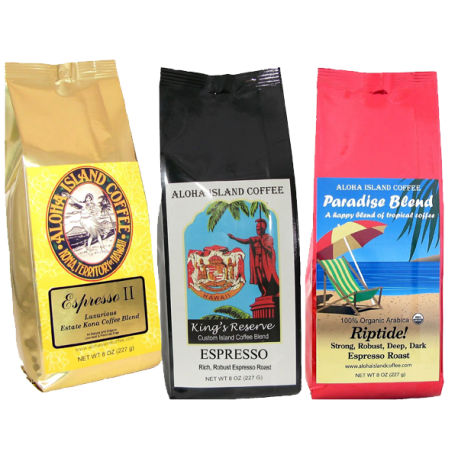 Espresso Coffee of the Month Club Kona Hawaiian Blend Espresso Roast Coffee Shipped Monthly for Six Months
