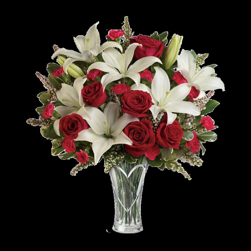 Розы оптом, стоимость букет из белых лилий и красных роз