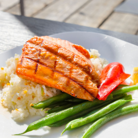 Grilled Salmon Filet Over Basmati Rice