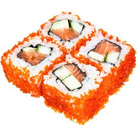 Maki sushi rolls with avocado salmon and caviar
