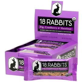 18 Rabbits Organic Granola Bar Fig Cranberry & Hazelnut 1.6 Ounce (Pack of 12)