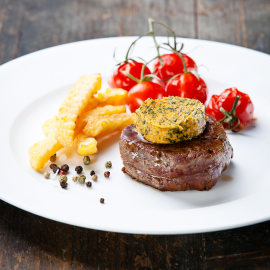 Beef Steak with Butter and Baked tomato