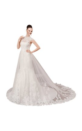 White Sleeveless Ball Gown In Lace Wedding Dress