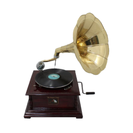 Antique Reproduction RCA Victor Phonograph Gramophone Gold Brass Horn