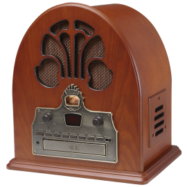 Crosley CR32CD Cathedral CD Player and Retro AM-FM Radio with Stereo Speakers (Paprika)