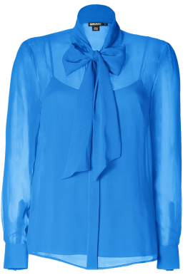 Silk Blouse with Tie Collar