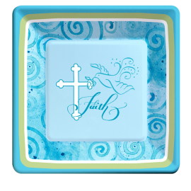 Faithful Dove Blue Dessert Plates