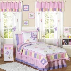 Sweet Jojo Designs Girls 4-piece Butterfly Twin Comforter Set