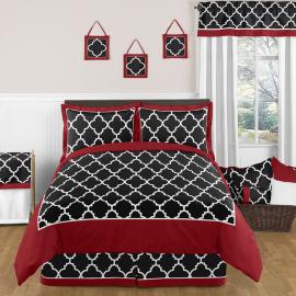 Sweet Jojo Designs Trellis Red- Black- White Lattice Print Pillow Sham