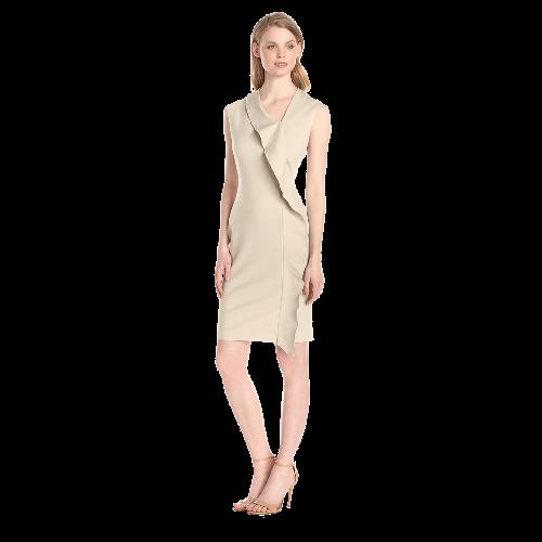Women's Cap Sleeve Asymmetrical Neck Ruffle Dress