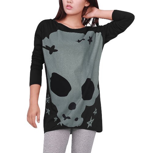 Long Sleeve Skull Casual Pullover