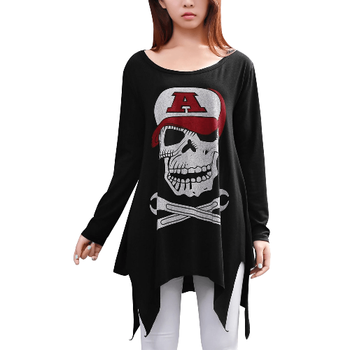 Skull Cut Out Back Tops Long Sleeve