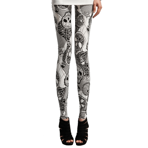 Skull Print Bodycon Women Leggings