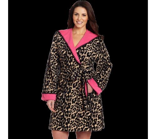 Betsey Johnson Women's Plus-Size Double Faced Microfleece Robe