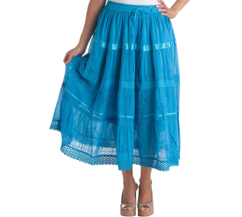 Bohemian Mid Length Cotton Skirt