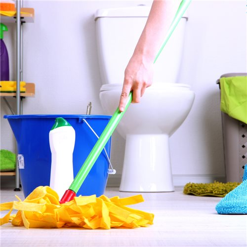 Cleaning bathroom at home
