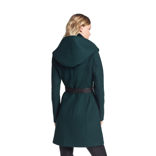 Hooded Wool Blend Coat with Leather Belt