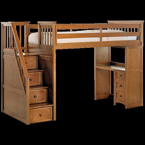 Schoolhouse Stairway Loft Bed