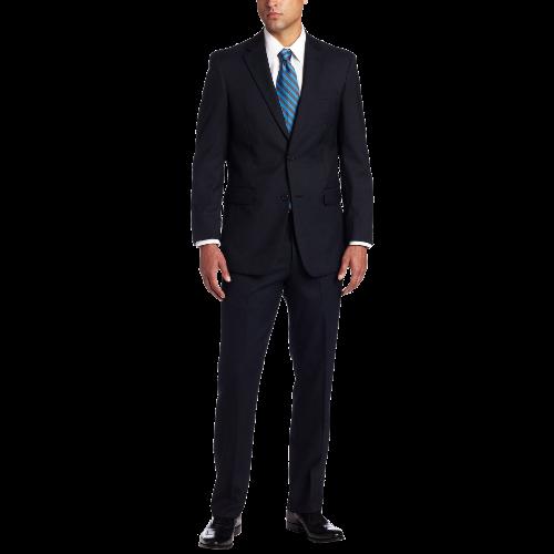 Men's 2 Button Side Vent Trim Fit Suit with Flat Front Pant