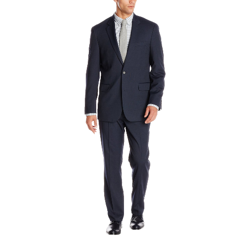 Modern Fit 2 Button Side Vent Flat Front Micro Pin Dot Suit