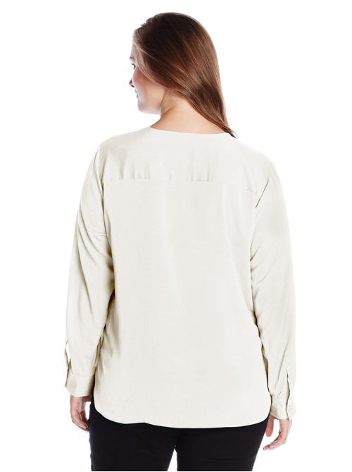V-Neck Draped Roll-Sleeve Top Blouse