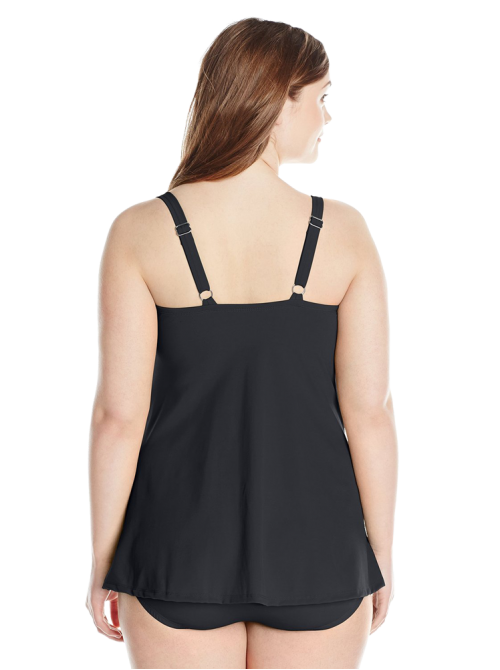 Plus-Size Solid Twist-Front Swim Dress