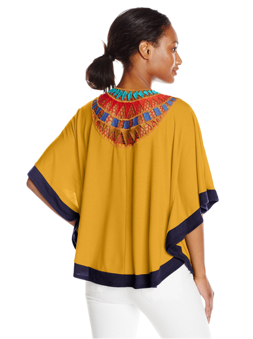 Elbow Length Scoop Neck Poncho with Crochet At Back