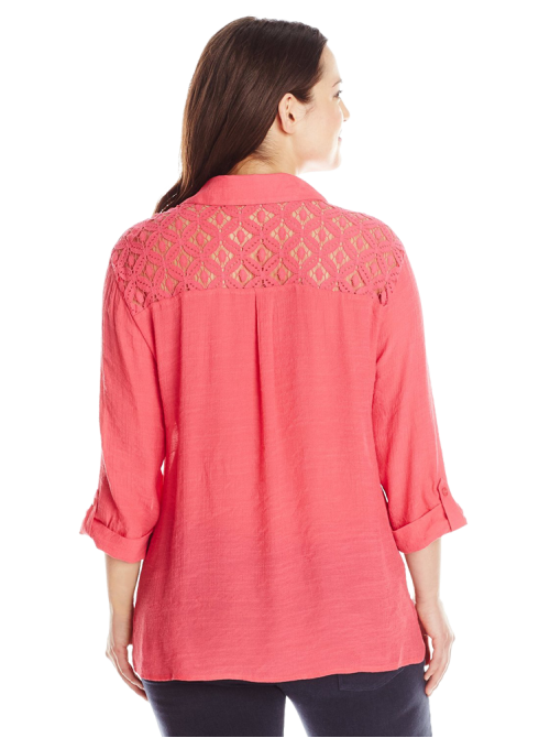 Plus-Size Crochet-Yoke Shirt