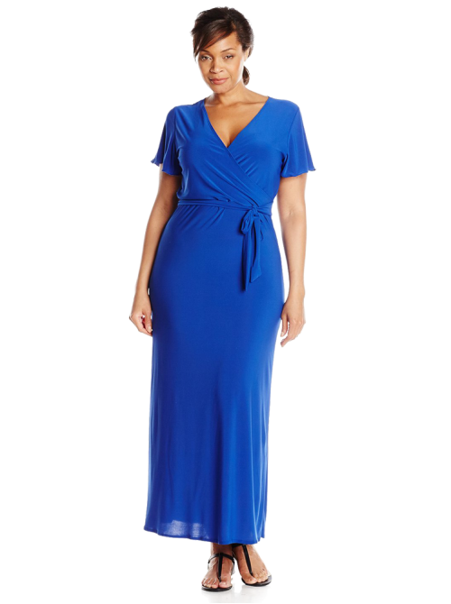 Short-Sleeve Faux Wrap Maxi Dress