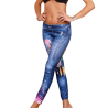 Graffiti Faux Jeans Print Slim Stretch Tight