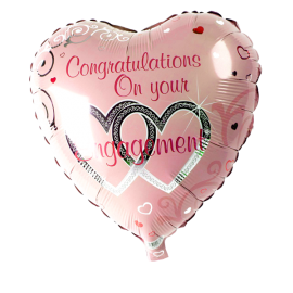 'Congratulations on your Engagement' Foil Heart Helium Balloon 3 copy