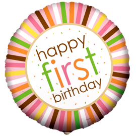 Sweet Safari Pink 1st Birthday Foil Balloon 1 copy