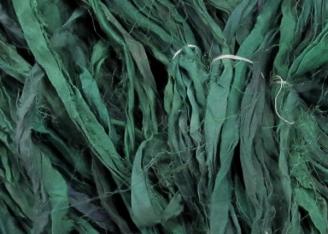Deep Turquoise Reclaimed Silk Sari Ribbon 1