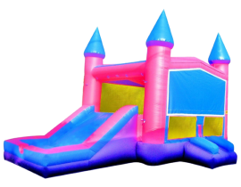 JumpOrange Commercial Grade 13' x 22' Princess Xtreme Wet_Dry Inflatable Bouncy House and Slide Combo, Purple_Pink_Blue 1