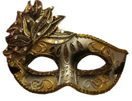 Gold & Silver Bejeweled Glitter Masquerade Face Mask 1