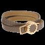 House of Harlow 1960 Gold Tone Sunburst with Leather Wrap Bracelet_2