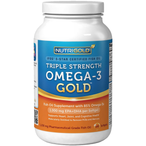 Omega-3 Fish Oil - NutriGold Triple Strength Omega-3 Gold 180 Softgels 1
