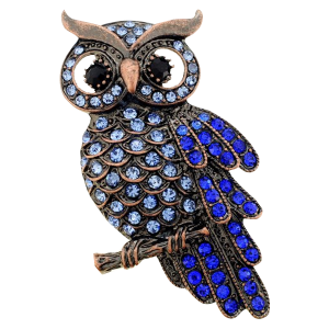 Vintage Sapphire Blue Owl Pin Brooch_1