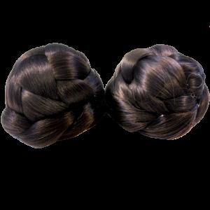 Braided Odango Wig Buns Dark Brown 1