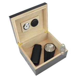 25-50 Cigar Black Humidor Gift Set 1