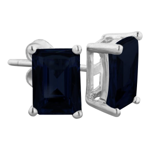 3ct Emerald Cut Midnight Sapphire Earrings In Sterling Silver_1