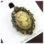 Medium Brown Cameo Brooch Pin Charm Classic Antique_3