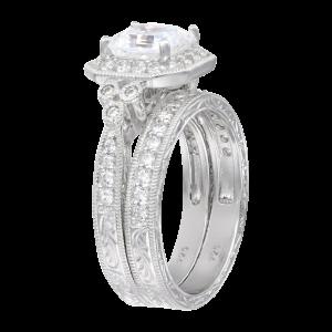 Sterling Silver Swarovski Zirconia Asher Antique Wedding Ring Set_2