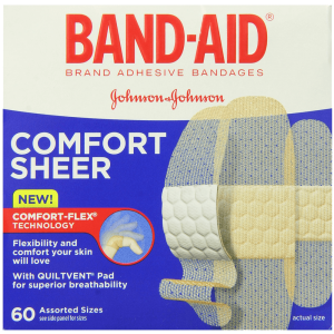 Band-Aid Brand Adhesive Bandages Sheer Strips Assorted 60 Count 1