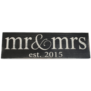 Mr & Mrs Est. 2015 Vintage Wood Sign for Wedding Decoration 2