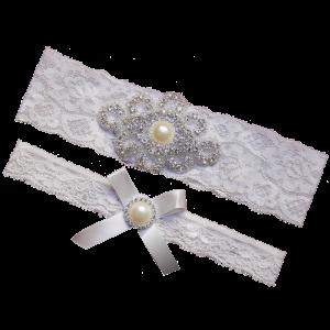 Rhinestone Pearl Vintage White Ivory Lace Wedding Garter Set Bridal Prom Gift 1